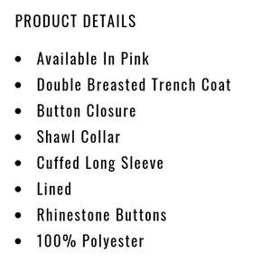 Fashion Nova Jackets & Coats - Fashion Nova Pink Trench w/Rhinestones Buttons 2X